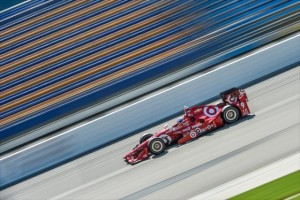Scott Dixon rolls down the frontstretch during practice for the Iowa Corn 300 at Iowa Speedway. Photo by Chris Owens