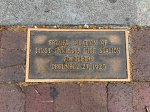 Danville Hilstory Walk leads you to this plaque marking the first Danville Fire Protection District's first fire station.
