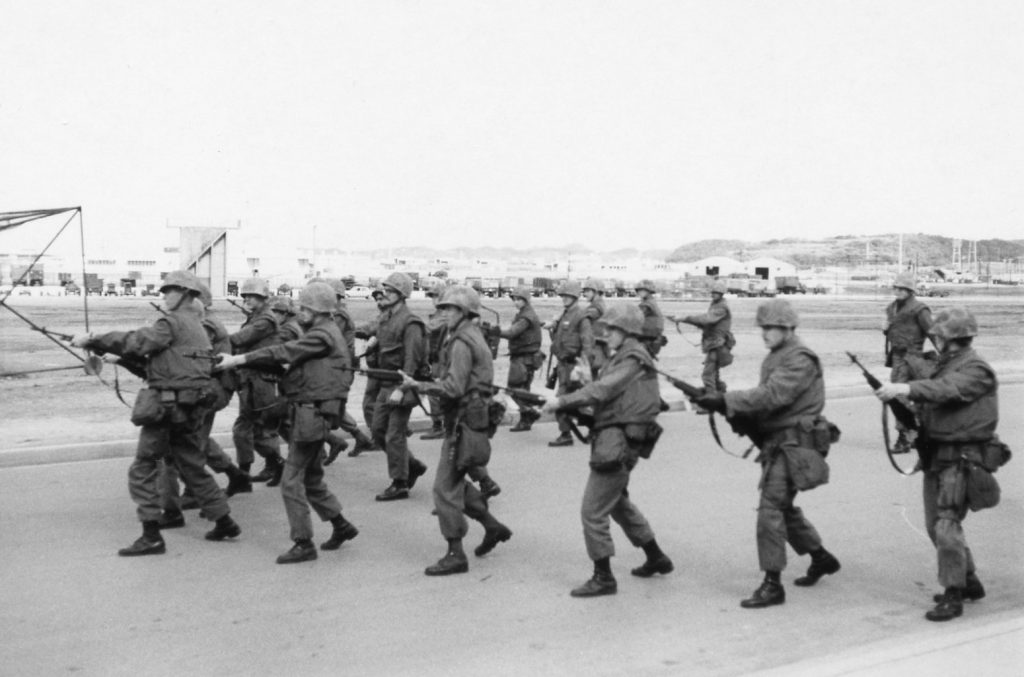 Bob Fish- Basic military protest or riot tactic training in V formation-Okinawa